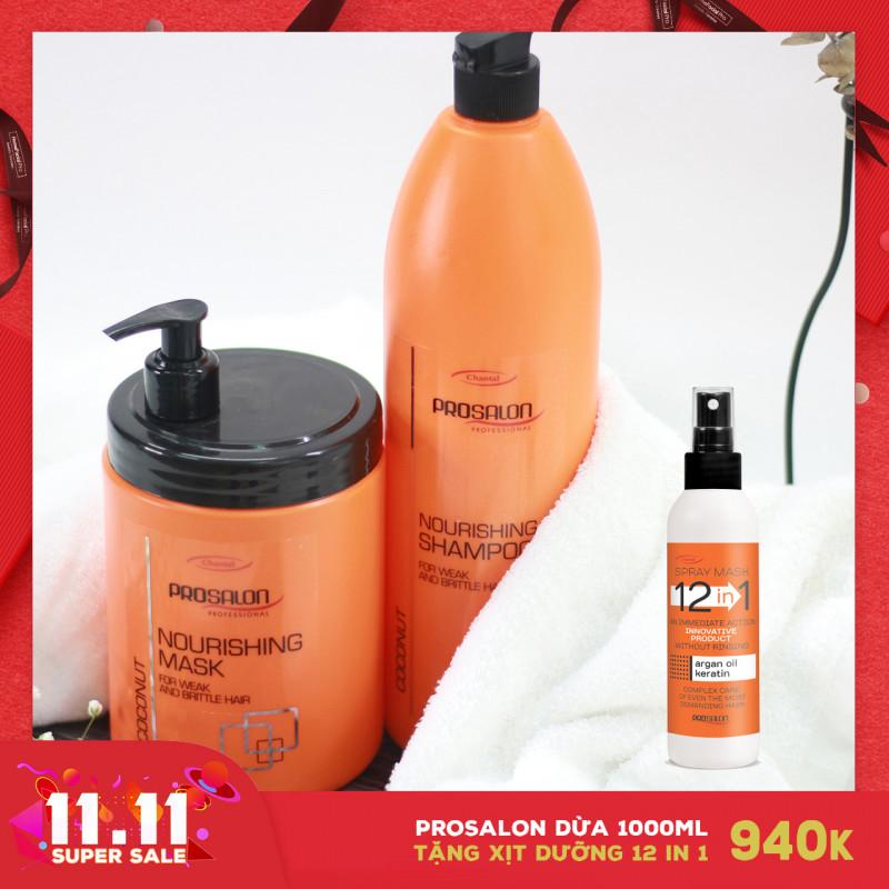 Bộ Gội-Mặt nạ Dừa dành cho tóc nhuộm Prosalon Coconut 1000ml Tặng Xịt dưỡng 12in1