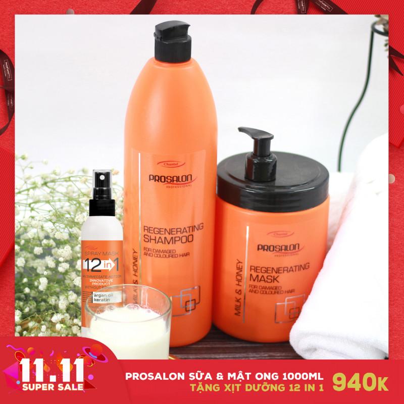 Bộ Gội-Mặt nạ cho tóc khô xơ Prosalon Milk & Honey 1000ml Tặng Xịt dưỡng 12in1