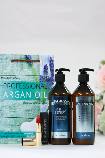 Cặp gội xả cho tóc khô xơ Professional Argan Oil 500 ml Tặng son cao cấp Pierre Rene trị giá 360k
